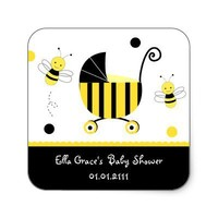 Bumble Bee Baby Shower Favor Stickers Labels Seals from Zazzle.com