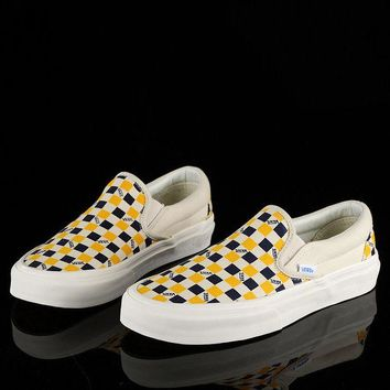 Vans Trending Women Men Classic Casual Canvas Old Skool Checkerboard Print Flats Shoes Sneakers Sport Running Shoes Yellow I