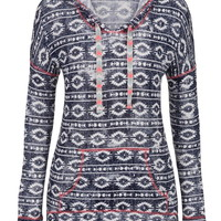 Ethnic Print Drop Shoulder Lightweight Hoodie - Blue