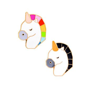Colorful Black Horse Cartoon Brooch Pins Badge for Women Men Pin Collar Lapel Denim Jacket Casual Enamel Metal Jewelry Gifts