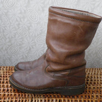 Vintage Lady's Brown Leather With Wool Lining Winter Boots Original Rockport Brand Size EUR 38 US W 8