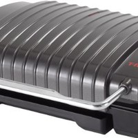 T-fal GC4208 4-Burger Curved Grill with Non-Stick Plates, Silver