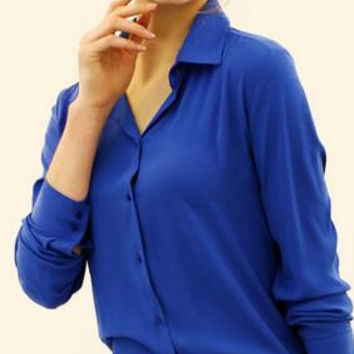 Pure Color Plus Size Chiffon Long Sleeves Blouse Shirt