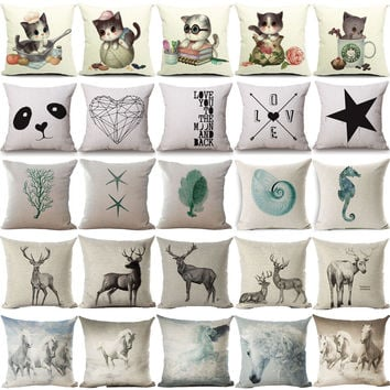 Cushion Cover Hodgepodge Originality Cat Geometric Cushion Ocean Sea Conch Hippocampus Horse Home Decorative Throw Pillow Cover