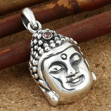 2016 Creative Buddha head Pendant 100% Real 925 sterling silver necklace pendant Vintage jewelry for men women Christmas gift Z5