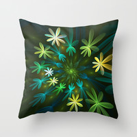 Fantasy Flowers, Fractal Art Throw Pillow by Gabiw Art