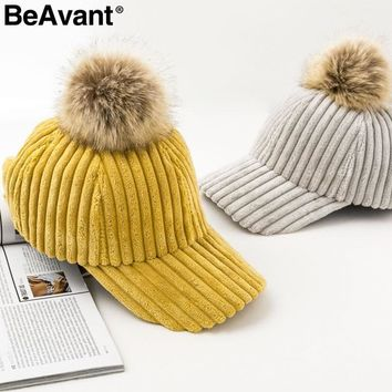 Trendy Winter Jacket BeAvant Corduroy hair ball winter women hat cap Adjustable fashion style baseball caps Streetwear casual 2018 warm female hat AT_92_12