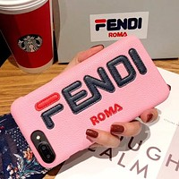 Fendi Fashion New Letter Print Women Men Leather Phone Case Protective Cover Pink