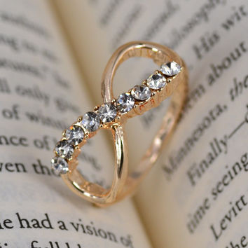 Infinity with crystal Ring