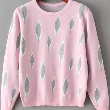 Leaves Print Round Neck Pink Sweater