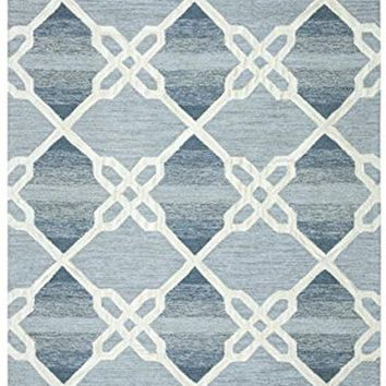 Caterine Collection Tufted Area Rug, 9' X 12', Blue/Off-White