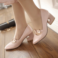 Pointed Toe Flower Mary Janes Chunky Heel Pumps 7469