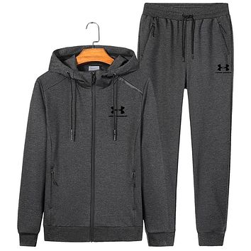 Under Armour autumn and winter new hooded casual long-sleeved trousers sportswear two-piece Grey