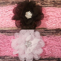 Chiffon Eyelet Flowers with Rhinestone center on Pink Lace Baby Girl Headbands! 2 Colors!