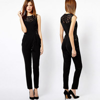 Black Sheer Lace  Sleeveless  Jumpsuit