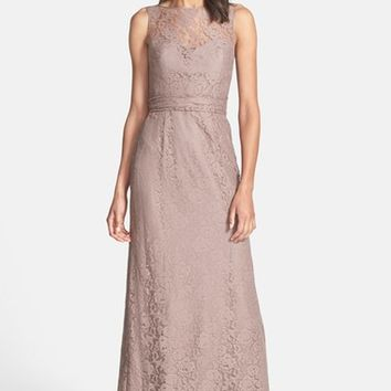 Amsale Illusion Yoke Lace Gown | Nordstrom