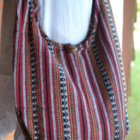 Hand Woven Cotton Bag Purse Hobo Hippie Sling Crossbody Messenger IKAT Top Zip Lined A8
