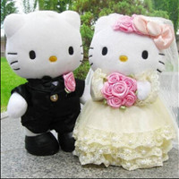 20cm 1 Pair Wedding Couple Hello Kitty plush toys High-quality Wedding Toys Free shipping