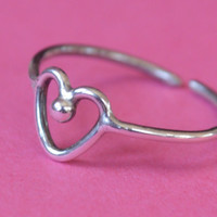 Wire Heart Toe Ring 925 Sterling Silver Adjustable Band Girls Toering