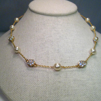 "Vintage Nolan Miller Faux Pearl and Diamond Cluster 18"" Necklace, Gold Tone"