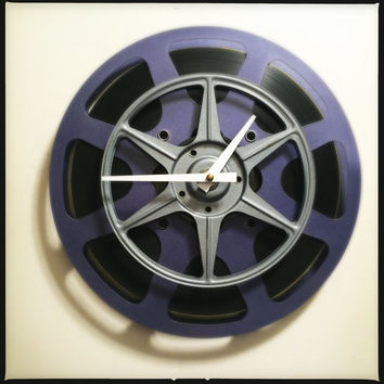 Film Reel Wall Clock Media Room Wall Clock Screening Room Wall Clock Purple/Lavender and Gray Film Reels