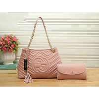 Gucci Popular Women Shopping Bag Leather Multicolor Tote Handbag Shoulder Bag Set Two Piece Pink I-RF-PJ