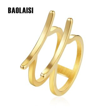 BAOLAISI Two round Rings For Women Geometric Trendy Ring Stainless Steel Gold-Color Engagement Wedding Brand Fashion Jewelry