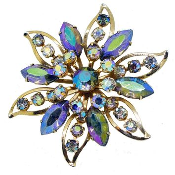 Goldtone Cutout and Aurora Borealis Rhinestone Flower Brooch