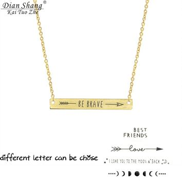 ICFTZWE Stainless Steel Gold Colour Love Be Brave Best Friends Love you to The Moon and Back Choker Necklaces Women Wedding Gift