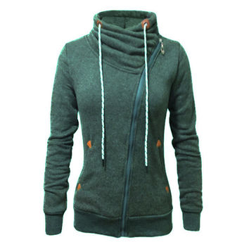 Sports cardigan side zipper plus velvet warm round neck sweater coat green