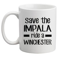 Geek Details Save the Impala Ride a Winchester Coffee Mug, 11 oz, White