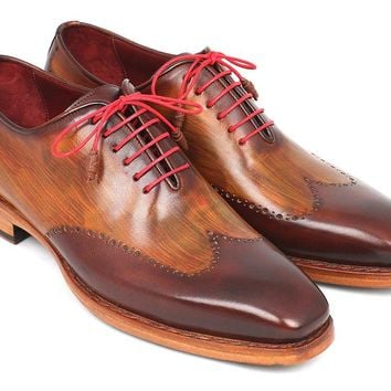 Paul Parkman Men's Wingtip Oxford Goodyear Welted Brown & Camel Shoes (81BRW74)