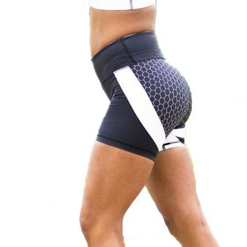 Honeycomb Women Gym Compression Booty Shorts Spandex Ladies Volleyball Running lycra Athletic