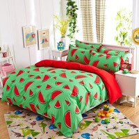 Cool New fashion bedding sets Watermelon banana fruit bed sheet quilt duvet cover pillowcase soft comfortable king Queen Full sizeAT_93_12