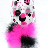 Custom Personalized Wine Glass Pink Zebra Stripe Polka Dot with Furry BOA