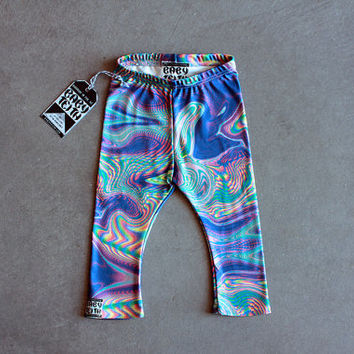 Faux Hologram Kid Leggings in Organic Cotton Gender Neutral for Modern Children sizes 2T - 6T Gender Neutral Cool Hipster Kid Clothes