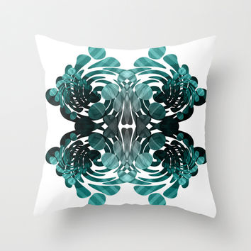 Abstract black and teal Throw Pillow by VanessaGF