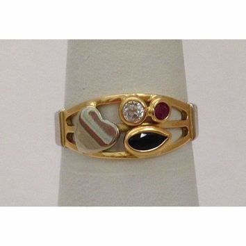 Luxinelle 2 Tone 18K Gold Blue and Pink Sapphire with Diamond Ring by Luxinelle® Jewelry