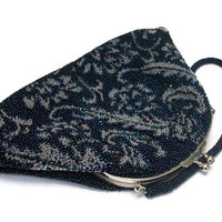 Vintage Navy Blue Beaded Clutch Handbag Formal Event Wedding Purse - Ornate Beading Silver Hardware - Elaborate Seed Bead Design - Kiss Lock