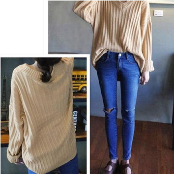 Women's Fall Fashion Oversize Long Sleeve Loose Knitted Sweaters Casual Knit Wear Pullovers = 1945876228
