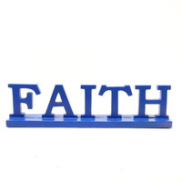 vintage faith sign  //  christian, religious, god, typography, cobalt blue  //  upcycled home decor  //  signs, letters, wood accessories