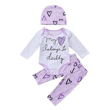 New Newborn Infant Baby Girl Clothes Sets Cotton Long Sleeve Tops Pants Hat 3pcs Outfits Set Clothing Baby Girls
