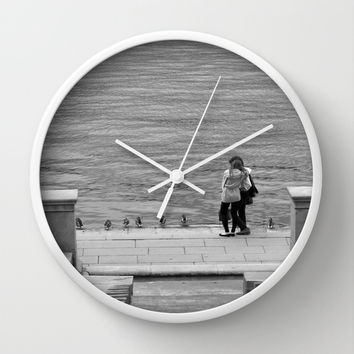 Enamoured Couple on Quay Wall Clock by Cinema4design