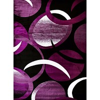 2062 Purple Abstract Contemporary Area Rugs