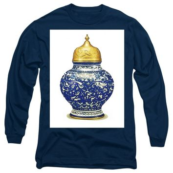 An Ottoman Iznik Style Floral Design Pottery Polychrome, By Adam Asar, No 9a - Long Sleeve T-Shirt