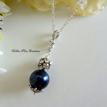 Swarovski Navy Blue Pearl Necklace Antique Silver Crystal Navy Blue Wedding Bridal Bridesmaid Jewelry Mother of Bride Groom Gift