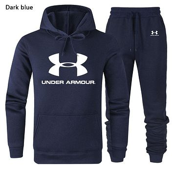 Under Armour Autumn And Winter New Fashion Letter Print Long Sleeve Sweater Sports Leisure Top And Pants Two Piece Suit Men Dark Blue