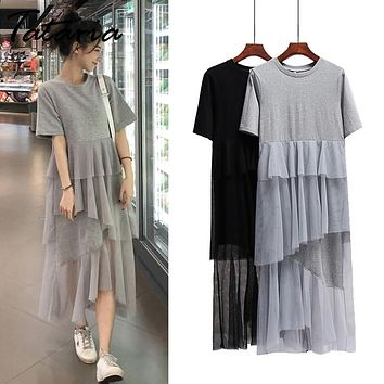 Tataria Short Sleeve T-shirt Dress Women Ruffles Lace Mesh Dress Patchwork Women O-Neck Loose Casual Long High Street Dress