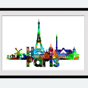 Paris watercolor skyline poster, Paris colorful cityscape print, home decoration, office decor, traveler gift, wall hanging art,  W115