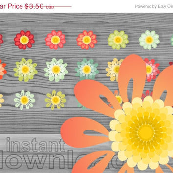 WEEKEND SALE 50% OFF daisy digital clip art set, 21 colored flowers, fall colors, commercial use clipart, instant download